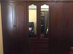 Wardrobe, Vanity and Bedside Tables Package (Dark Brown wood) Burwood Burwood Area Preview