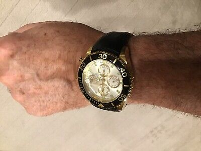 Invicta Grand Diver RARE SWISS MADE Automatic Valjoux 7750 Black Leather & Bezel
