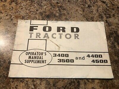 Ford Tractor Operators Manual Supplement 3400 3500 4400 4500