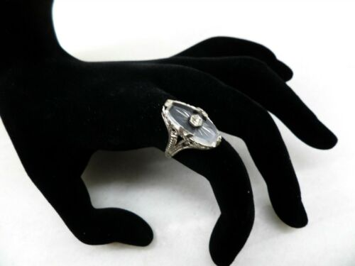 Vintage Silver-tone & Etched Crystal Ring (Size 6) #6682