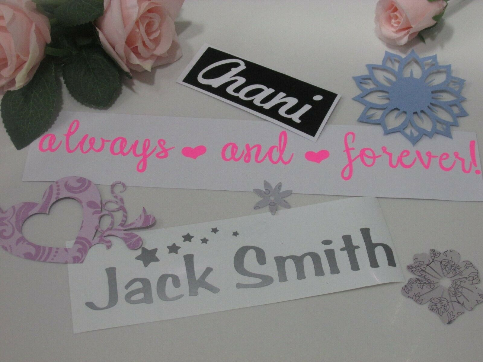 Custom Personalised Name Word Text Cut Vinyl Decal Fancy Font Sticker Gift Hinch 1