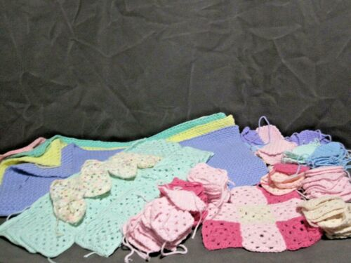 LARGE LOT 139 CROCHETED GRANNY SQUARES- READY FOR PROJECT