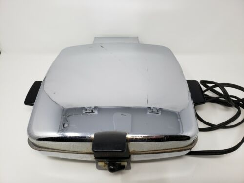Rare Vintage CG Sunbeam Waffle Iron Baker and Grill Model CG Chrome Tested Works