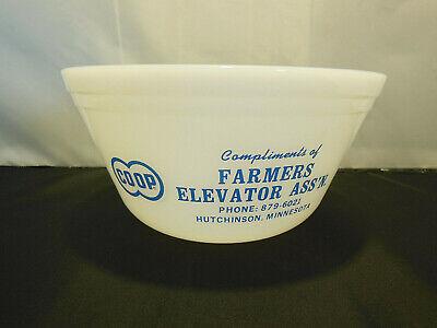 VTG FEDERAL MILK GLASS BOWL ADVERTISING FARMERS ELEVATOR ASS'N HUTCHINSON MINN