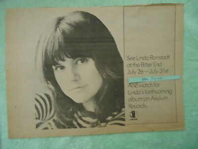 Linda Ronstadt 1972 concert ad The Bitter End NY