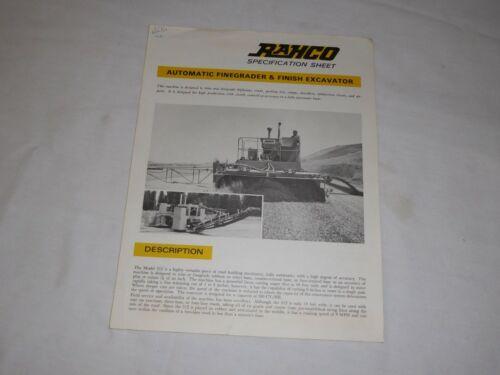 1969 RAHCO AUTOMATIC FINEGRADER & FINISH EXCAVATOR SALES BROCHURE