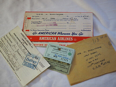 Important 1941 American Airlines Ticket W Sleeper Herman Schultheis  W Disney