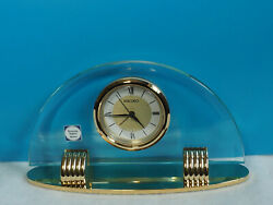 NEW SEIKO GLASS DESK/SHELF DECORATIVE ALARM CLOCK WITH BRASS BASE