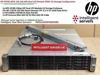 HP D3700 48TB Read Intensive 12G SAS SSD Dual I/O Module 2U Storage Array QW967A