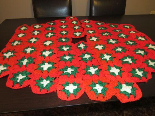 """Vintage Christmas Tree Skirt Handmade Crochet Granny Red w Green White 35/40"""""""