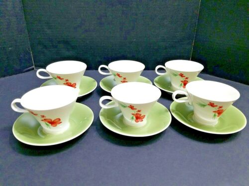Vintage Impromptu Iroquois Green Floral Set of 6 Cups and Saucers by Seibel MCM