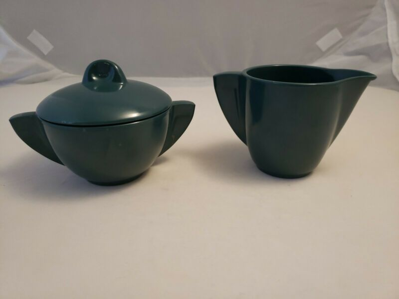 Boonton Melmac Vintage MCM Creamer 506 Sugar Bowl 603 Three Pc Dark Green VGUC