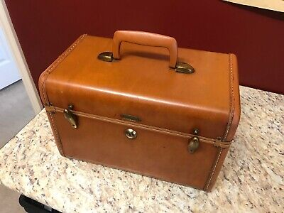 Vintage Samsonite Brown Shwayder Bros Train Makeup Hard Case with No Key