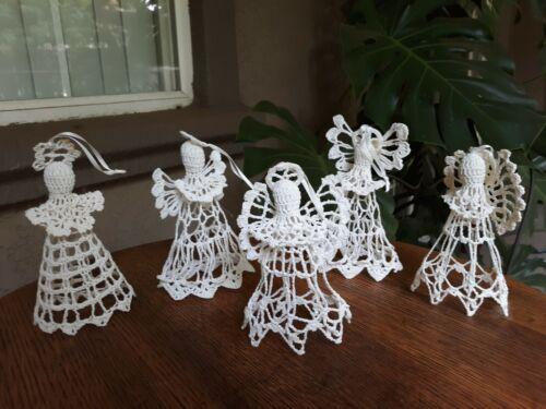 "5 Antique Folk Art Hand Crocheted ANGEL CHRISTMAS ORNAMENTS 6.5"" Stiffened"