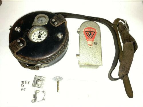 DETEX WATCHMAN CLOCK 1966 MODEL W/CASE, TIME KEY, & NO CASE KEY, TESTED