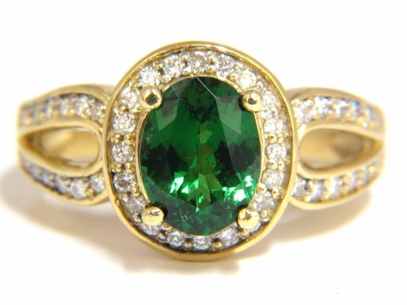 $6000 2.78CT  NATURAL OVAL VIVID MINT GREEN TSAVORTIE DIAMONDS DOUBLE SHANK RING