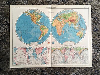 C1952 Antique Map Of World Physical Large J G Bartholomew