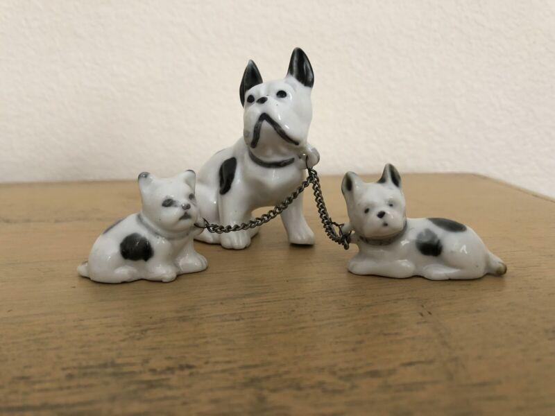 Vintage French Bulldog Family On Leash Ceramic Japan