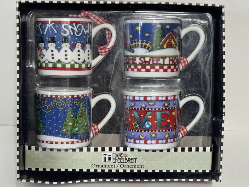 ME Ink Mary Engelbreit Mug Snowman Christmas Ornaments 4 Cups NIB