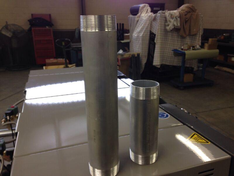 "2"" Aluminum Pipe Nipples Schedule 40. Custom Made To Order"