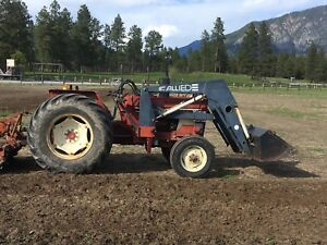 Diesel farm tractor with 3 PTO and loader