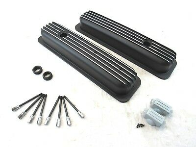 SBC Chevy 350 Center Bolt Short Aluminum Finned Valve Cover Black BPE-2027B ()