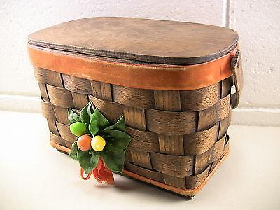 Vintage Basket Purse Oak Splint Rockabilly Style Plastic Fruit 1970s Fashion