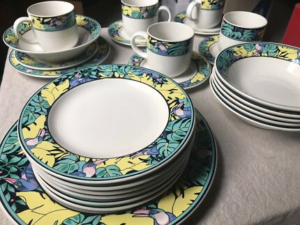 Rare hipster original 80s tropical crockery set! & Red and teal crockery set plates bowls dinner set | Dinnerware ...