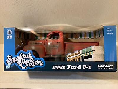 "1952 FORD F-1 PICKUP TRUCK RED ""SANFORD & SON"" 1/18 DIECAST CAR GREENLIGHT 12997"