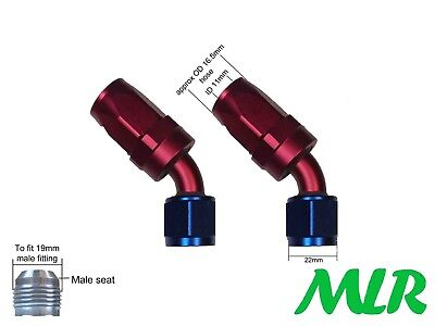 MLR AN-8 JIC 45 DEGREE RED BLUE OIL COOLER REMOTE FILTER HOSE PIPE FITTINGS PAIR
