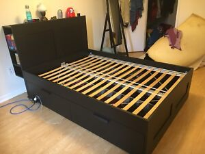 Full size bed frame w/ drawers and headboard shelves