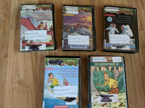 Lot Of 4 Vintage Tree House Collection & 1 Tin Tin Audio Cassette Tapes