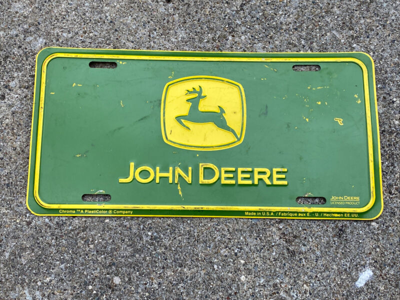 John Deere Logo Green Embossed Metal License Plate Tag