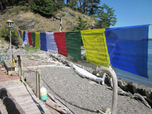 "LARGEST & LONGEST 13"" x 13"" STRING OF 25 LONG LIFE TIBETAN BUDDHIST PRAYER FLAGS"