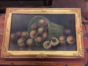 Painting. Peaches. Oil. Framed under glass