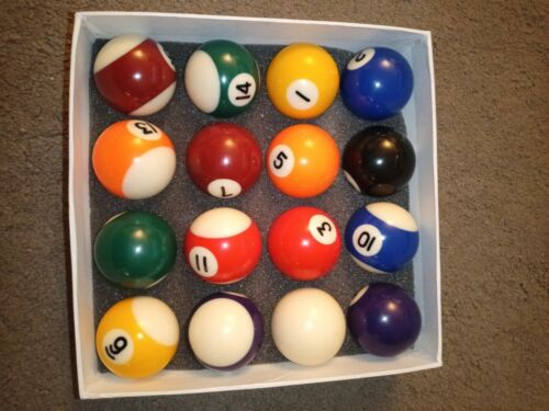 Full Size UK Regulation 16 Spots and Stripes Pool Ball Set no marks used twice