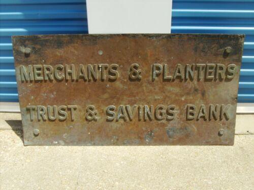 MERCHANTS & PLANTERS ANTIQUE BRONZE BRASS LARGE BUILDING SIGN EARLY 1900