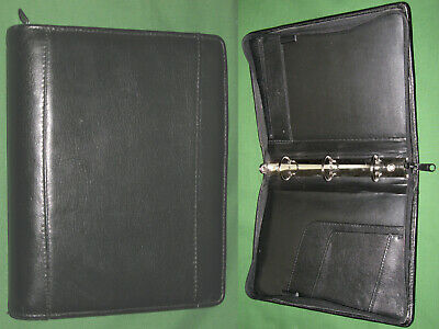 Classic 1.25 Black Leather Day Runner Planner 3 Ring Binder Franklin Covey