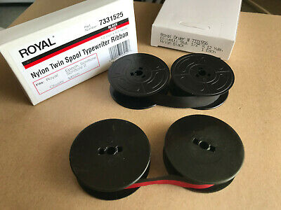 2 Pk Vintage Portable Manual Royal Typewriter Spool Ribbon Black Red 1 Black