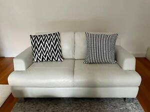 Natuzzi Leather Couch - 2 seater - Cream with Metal Feet