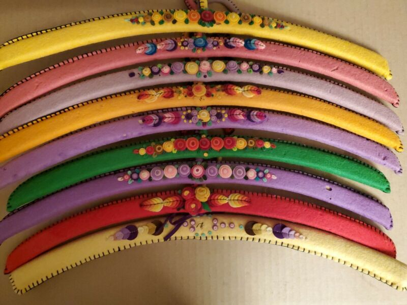 9 Vintage Fabric Covered Wood Clothes Hangers Felt Flowers