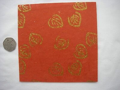 20 Sheets RED CREATIVE Handmade GOLD GLITTERED LEAVES Paper Pack 6x6 NEW Bargain