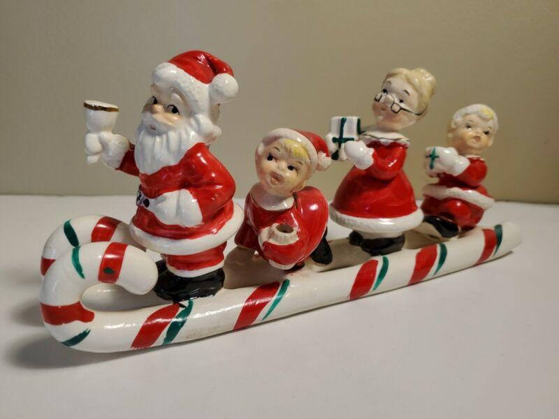 Vintage Lipper Mann Christmas Santa On Candycain Sleigh Candleholder Japan