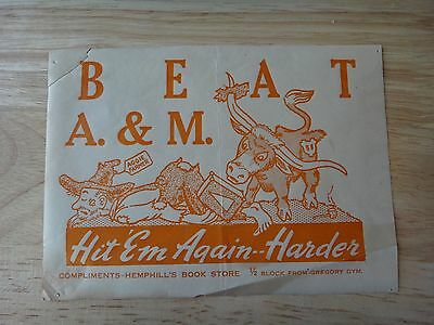 1940 University Of Texas -Austin UT Beat A&M Sticker Hemphill's Book Store Ad
