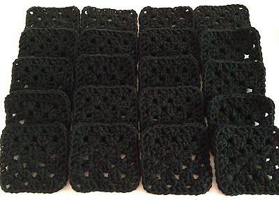 "20 4"" BLACK Hand Crocheted GRANNY SQUARES Afghan Yarn Throw Blanket Blocks"