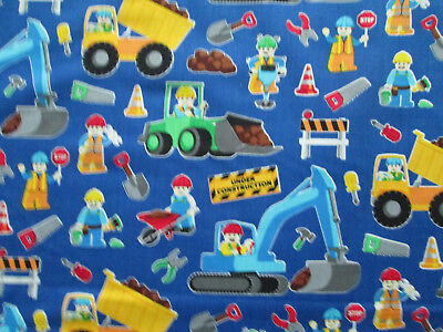 CONSTRUCTION MEN VEHICLES SIGNS KIDS BLUE COTTON FABRIC FQ  for sale  Shipping to India