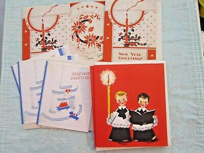 (8) VINTAGE HALLMARK CHRISTMAS CARDS & ENV. - CHOIR BOYS-(6) NEW YEARS CARDS Choir Christmas Card