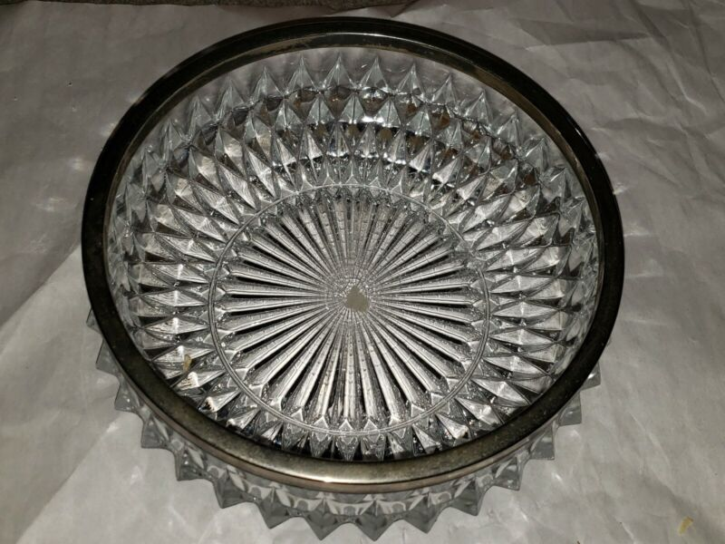 VINTAGE CRYSTAL & SILVER PLATED RIM CANDY BOWL - MADE IN ENGLAND - RIBBED DESIGN