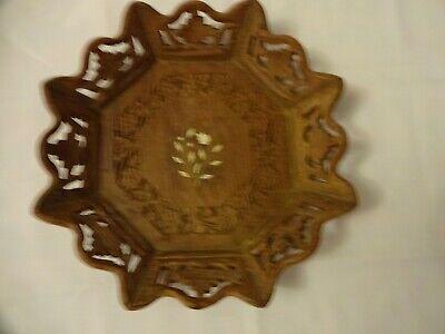 Vintage Hand Carved Wooden Decorative Bowl/Basket Diameter 26 cm