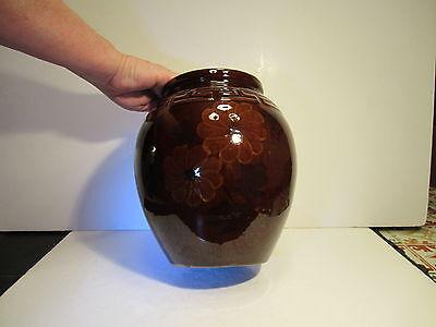 Large VTG Brown High Gloss Greek Key Band Decorated Art Pottery Jar Vase
